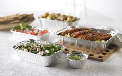 Aluminium trays of varying size containing food - Plus Pack