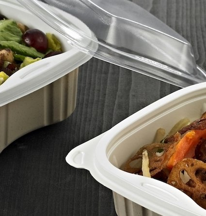 Food trays with coloured sides and clear lids - Plus Pack