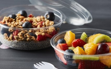 SafeSnack for DeliWave trays - small round trays with spork included in the bottom for oatmeal or fruit salad - Plus Pack