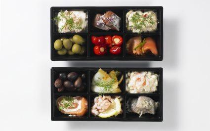 Tapas served in rectangular black trays - Plus Pack