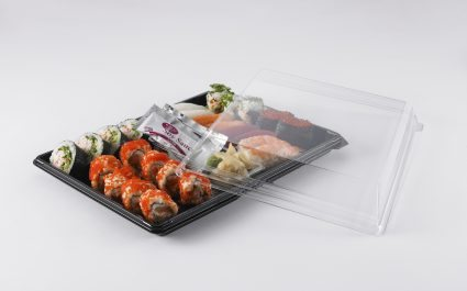 Plastic containers showing sushi meal with lid - Plus Pack