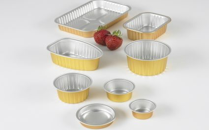 Aluminium trays with gold sides in various shapes and sizes - Plus Pack