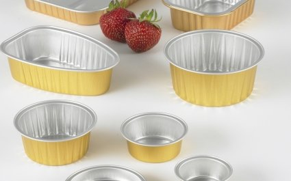 Portion Pack Aluminium containers with gold outside lacquer ideal for pasteurization - Plus Pack
