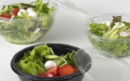 Various round pots of salad with lids - Plus Pack