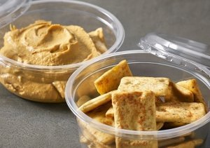 Clear DeliWave trays as snack pots of crackers and dip - Plus Pack