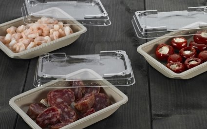 Fiber coloured ShelfMaster rectangular trays with tapas selection - Plus Pack