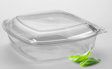 Clear plastic tray, hinged lid, rPET, plastic food packaging