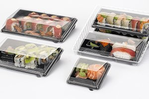 Sushi in black Zen trays with clear lids - food packaging - Plus Pack