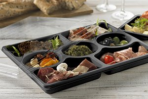 Black Zen Selection Platters with tapas selection and clear lid - Plus Pack