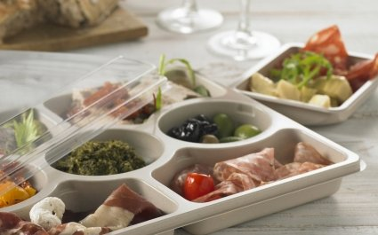 Partitioned tapas platter with lid - Plus Pack
