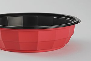 round diamondshaped PP Chalk bowl red outside and black inside - Plus Pack