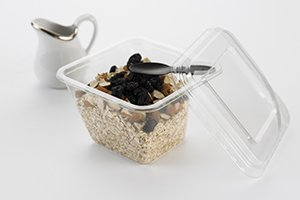 Square clear tray with spoon clicked in corner with mysli - Plus Pack